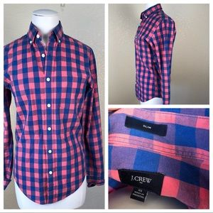 Gently used J Crew gingham blue and pink shirt